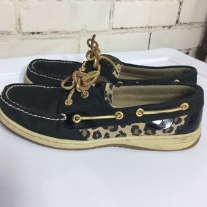SPERRY Top Sider black leopard print loafers. 9.